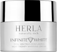 Herla отбеливающий ночной увлажняющий крем для лица Infinite White total spectrum moisturizing night therapy whitening cream
